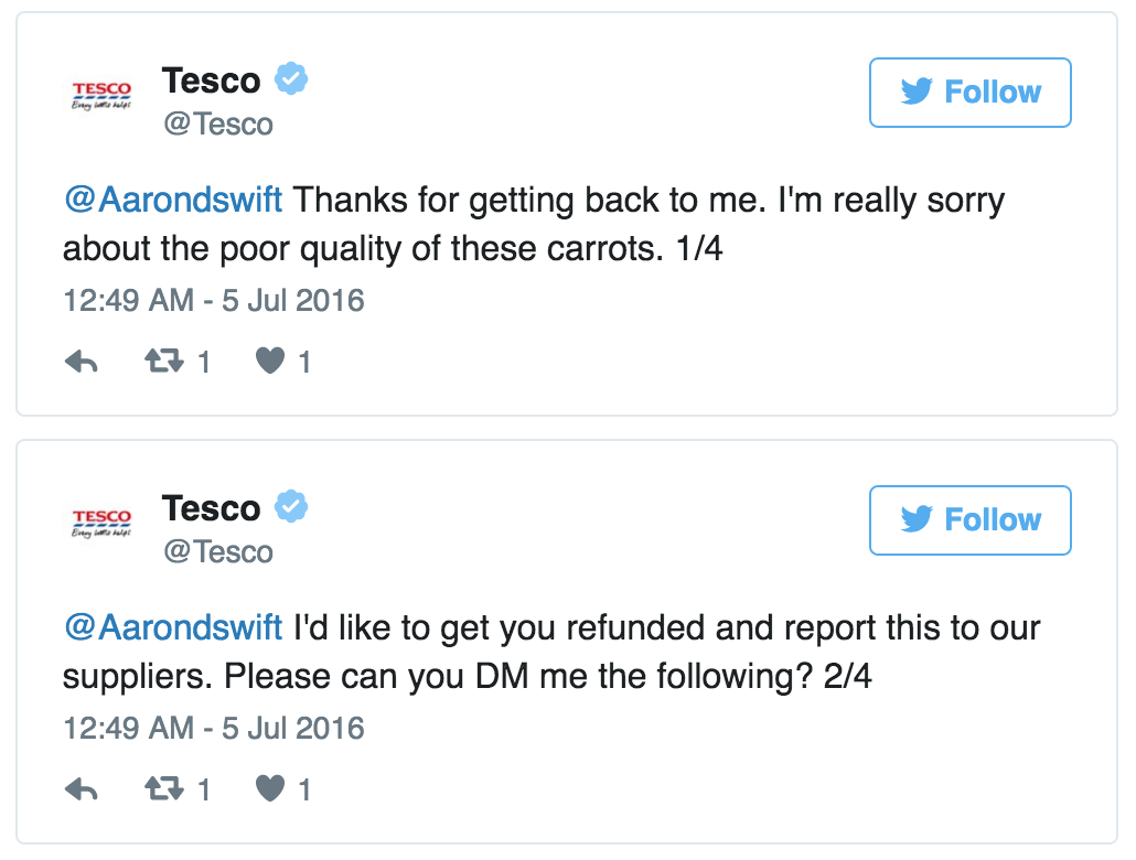 Carrots Batons Tesco Customer Care (Mashable) 4