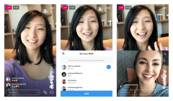 Instagram LIVE split screen